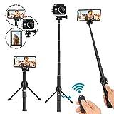 LEXY Selfie Stick - Trípode Extensible con Mando a Distancia inalámbrico para iPhone 6, 7, 8 y Plus, Samsung Galaxy S9 Note8, GoPro (45 Pulgadas)