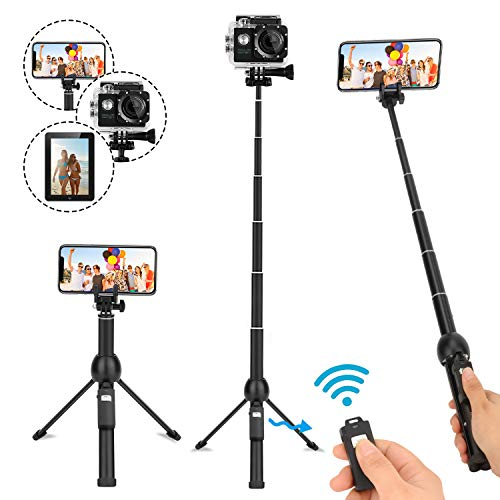 LEXY Selfie Stick Bluetooth, 114,3cm allungabile Selfie Stick treppiede con Telecomando Senza Fili per iPhone 678x Plus, Samsung Galaxy S9NOTE8, Gopro