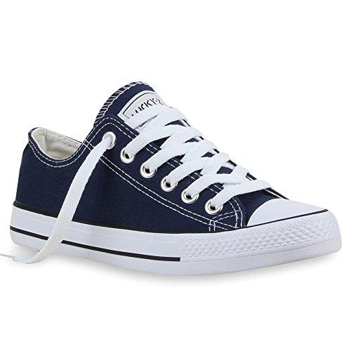 Scarpe da ginnastica, da donna | ideali per tempo libero e lo sport | scarpe basse | dimensioni ampie | flandell®, Blu (Marineblau), 46 EU