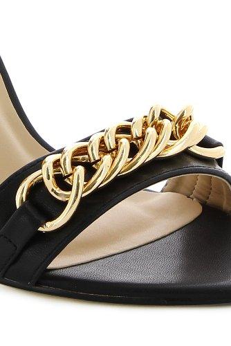 Sandales à talon avec chaine décorative Noir