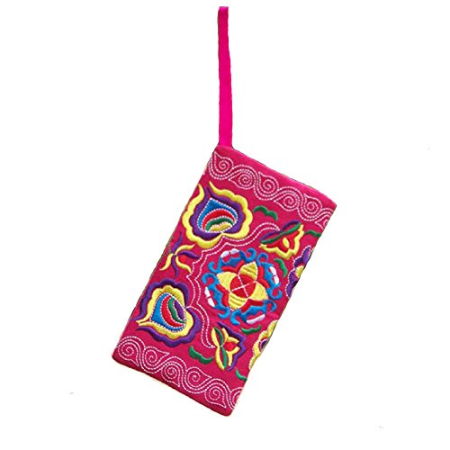Handmade Embroidered Purse, Rcool Women Girl Vintage Multicolor Wallet Wristlet Purse Handbag Clutch Bag (Red)
