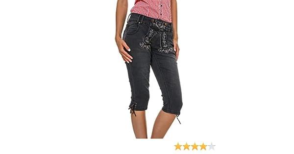 Hailys Damen Capri Jeans Caprihose Schwarz Trachten Look M