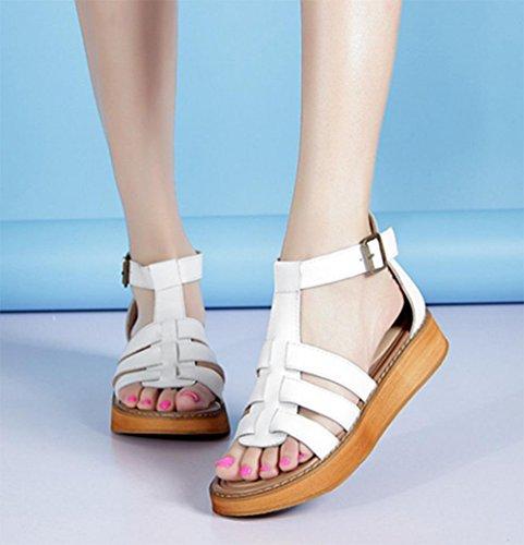 Frau Sommer Sandalen Plateau-Schuhe Steigung mit der geöffneten Zehe flache beiläufige Sandalen Frauen White