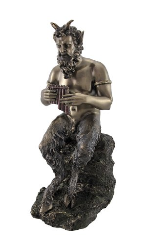 Bronzed Finish Pan Playing Flute Statue Greek Mythology Faun by Things2Die4