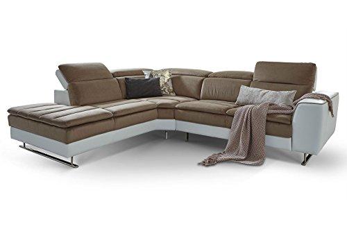 Moebella Designer Ecksofa Prato Weiß Taupe Wohnlandschaft XXL Couch Sofa Kopfstützen verstellbar Steppungen (Spiegelverkehrt)