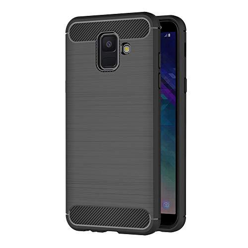 AICEK Samsung Galaxy A6 2018 Hülle, Schwarz Silikon Handyhülle für Samsung A6 2018 Schutzhülle Karbon Optik Soft Case (5,6 Zoll)