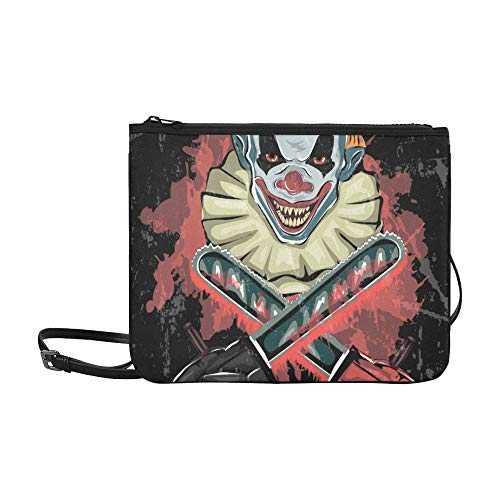 EIJODNL Evil Scary Clown Monster Pattern Benutzerdefinierte hochwertige Nylon Slim Clutch Cross Body Bag (Scary Dämon Gesicht)