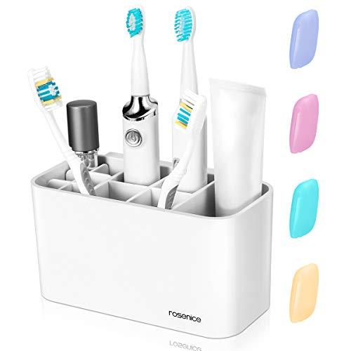 Zahnbürstenhalter - Zahnbürsten Halter Spender Badezimmer Caddy  Organisator Wand, 11 Steckplätze für Zahnbürste Zahnpasta,  4  Zahnbürstenabdeckungen -