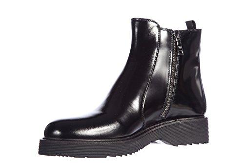 Prada demi bottes femme en cuir spazzolato fume nero Noir