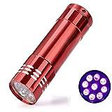 Led Lampe de poche lumière noire 9Ultra Violet Blacklight lampe torche 3AAA pour l'extérieur randonnée Camping Cyclisme Pour la chasse, la randonnée, pêche, barbecue et EDC, rouge