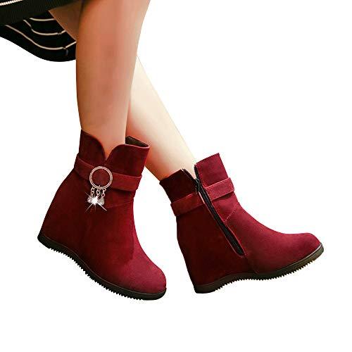 TianWlio Boots Stiefel Schuhe Stiefeletten Frauen Herbst Winter Herde Stiefel Keile Niedriger Reißverschluss Mittleres Rohr Stiefel Freizeit Schuhe Stiefel Weihnachten rot 40