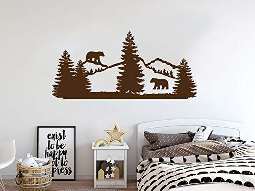 Wall Art Decal Mountains Forest Landscape Nature Pine Decals Animals Bear Woodland Nursery Bedroom Decor Vinyl Letterting Wall Sticker Decor