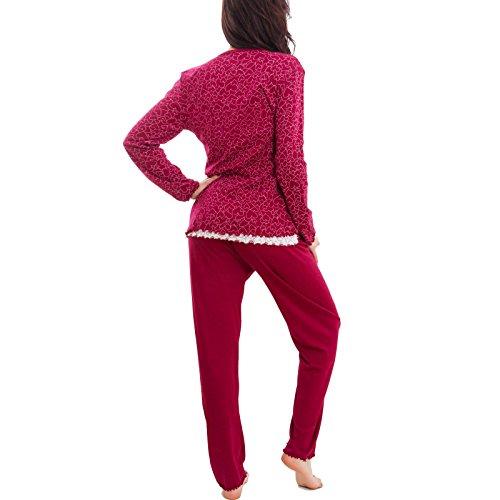 Toocool - Pigiama donna tre pezzi vestaglia maglia pantaloni cardigan cuori nuovo S-822 Rosso