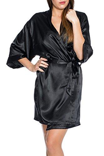 Kendindza Damen Satin Sexy Kimono Morgenmantel Nachtwäsche Unterwäsche Dessous Mantel kurz (L, Schwarz) (Kurzen Low 5 Rise Höschen)