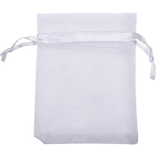 Mudder sacchetti regalo in organza bustine favore nozze per gioielli, 100 pezzi (bianco)