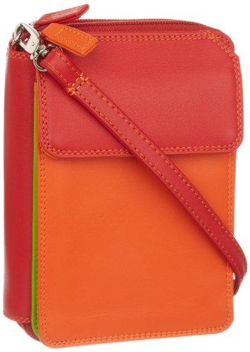 mywalit Portafoglio Double Zip Mega Purse W/Shoulder Strap Arancione/Rosso