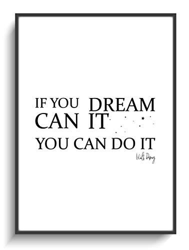 Motivation Spruch DIN A4 Schwarz Weiß Dream It! 2 Dekoration ohne Rahmen Zuhause Wohnzimmer Schlafzimmer Büro Haus Wohnung Design Modern Zimmer -