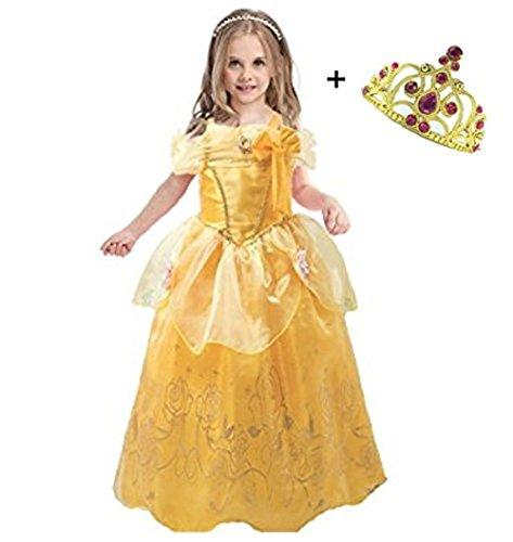 Liuimiy bambine principessa costume gonna + diadema abito di gala ragazze cosplay tulle vestito per festivo feste a tema halloween carnevali compleanni giallo 2-8anni