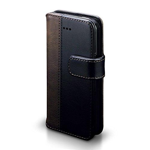 Coque Cuir iPhone SE, Terrapin Étui Housse en Cuir pour iPhone SE Housse - Rouge de la ligne Blanc Noir / Brun