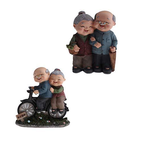 FLAMEER Figurine Couple Personnes âgées Sculptures Décor Statues Enfants - Couleur #2