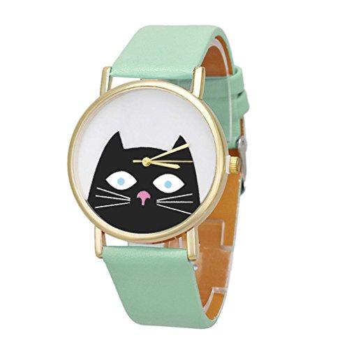 Vovotrade resplandor Gato Mujeres Hombres Pareja Regalo Cuero banda Analog Cuarzo Dial Reloj De Pulsera (verde)
