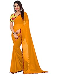High Glitz Fashion Women's Georgette Saree with Blouse Piece (Yellow, Free Size)