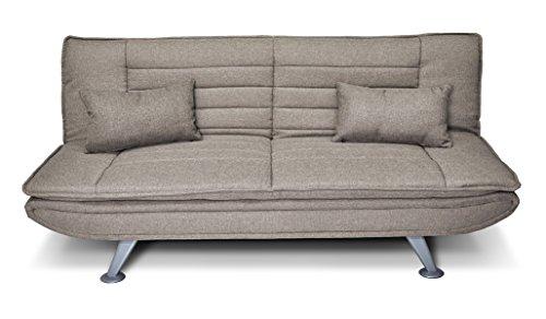 Divano letto clic clac in tessuto tortora - divano iris 3 posti con cuscini