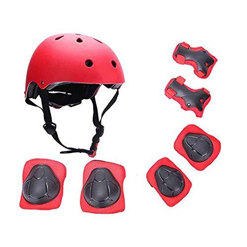 MANYYSI Schutz Kinder 7 STÜCKE Sport Schutzausrüstung Knie Ellbogenschützer Handgelenkstütze Set Walk Outdoor Rollschuhe Inline Skates Skateboard Radfahren (Red) -