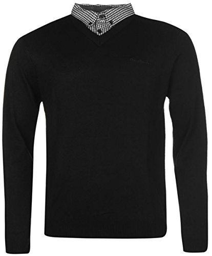 Mens Knitwear Mock V Neck Jumper (Large, Black 1)
