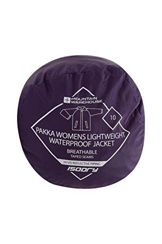 Mountain Warehouse Pakka wasserdichte Damenjacke zusammenfaltbare Regenjacke Windjacke Kapuze Tragebeutel Camping Outdoor Violett