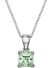 1/2 CT Swarovski corte princesa de plata de ley Adjutable lámpara de techo colgante con 40,64 cm cadena caja