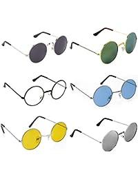 bcc8999cf6fa0 Trendmi Gandhi Round Shape Retro UV Protection Sunglasses Shades For Men    Women (Combo of