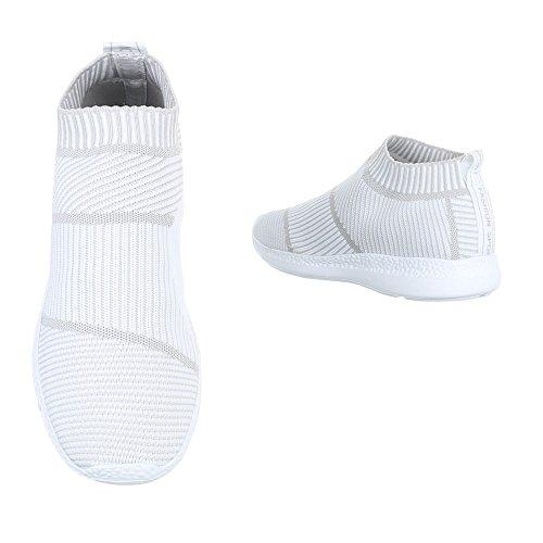 Slipper Damenschuhe Herrenschuhe Leichte Unisex Sneakers Ital-Design Halbschuhe Weiß BY3111