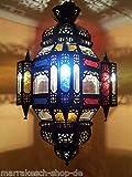Orientalische Lampe Pendelleuchte Bunt Falak 60cm E27 Lampenfassung | Marokkanische Design Hängeleuchte Leuchte aus Marokko | Orient Lampen für Wohnzimmer Küche oder Hängend über den Esstisch