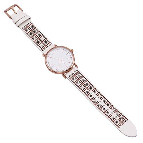 Rosemarie Collections Damen-Armbanduhr Sommer Weiß mit aufwendigem Kunstlederband (Die Zu Wie Vermeiden Besten Lehrer)