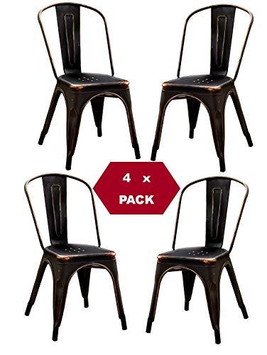 TF Sillas de Metal de Estilo Industrial Paquete DE 4 Piezas Tolix Design Vintage Negro Envejecido