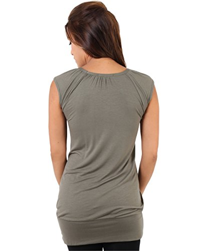 KRISP® Damen Basic Longshirt Oberteil Khaki (7604)