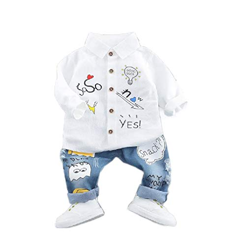 CuteRose Toddlers Children Boys Jeans Long-Sleeve Cartoon Shirt and Pants White 70