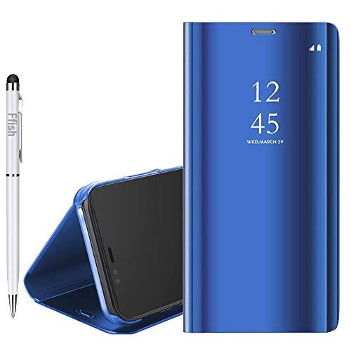 Ffish Xiaomi Mi Max 3 Hülle, Luxus Spiegel, [Metal Plating Technologie] [Translucent View Fenster] Ultra Dünn Leicht Flip Ständer Magnetisch Schutzhülle für Xiaomi Mi Max 3, Blau