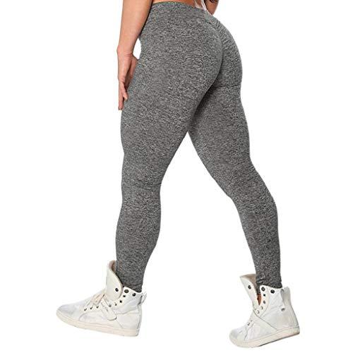 QUICKLYLY Yoga Mallas Leggins Pantalones Mujer,Moda Mujer Entrenamiento Leggings Fitness Deportes Gimnasio Running Yoga Athletic Pants(Gris,M)