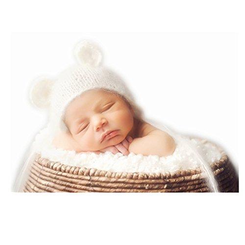 (BINLUNNU Neugeborene Junge mädchen Handarbeit gehäkelte Baby kostüm fotoshooting Hut Kopfschmuck)