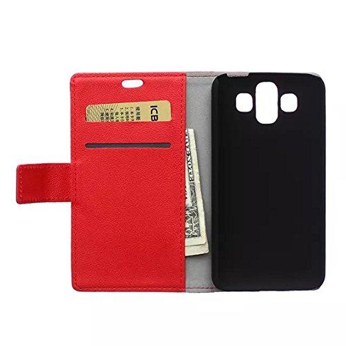 Solid Color Kas Textur Muster Leder Schutzhülle Case Horizontal Flip Stand Case mit Kartensteckplätzen für LG AKA ( Color : Purple , Size : LG AKA ) Red
