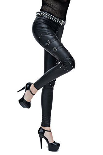 Gothic Ladies Fashion negro PU pantalones largos de cuero con remache Steampunk mujeres Sexy Casual Punk Stretch pantalones (XS)