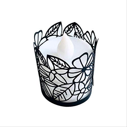 PMFS Laser Paper Cut Hohle Blume Blatt Kerze Lampenschirm Halter Hochzeit Vintage Tisch WohnkulturSchwarz -