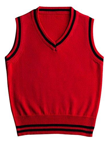 ARAUS Niños Chaleco de Punto Cuello V Suéter Jersey Uniforme de Colegio para Bebé Primavera,1-7 Años