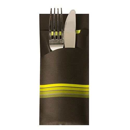 PAPSTAR 520 Bestecktaschen 20 cm x 8,5 cm Schwarz/Limone Stripes inkl. Farbiger Serviette 33 x 33 cm 2-Lag. 86702 Serviettentaschen Streifen