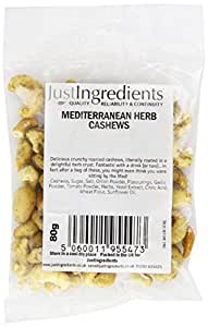 JustIngredients Essential Mediterranean Herb Cashews 80g (Pack of 4)
