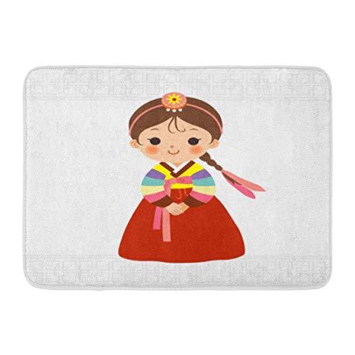 Kostüm Kind Niedliches Kleines - Rongpona Bad Matte Kultur Cartoon niedliche kleine Mädchen im koreanischen traditionellen Kostüm Kind Hanbok Badezimmer Dekor Teppich