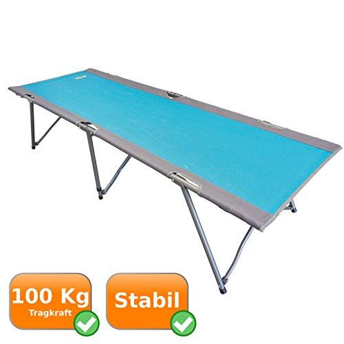 Stabiles Feldbett mit 192cm Liegefläche | starken Tragfähigkeit bis 100Kg | robustes + pulverbeschichtetes Gestänge | geringes Packmaß 12x15x96 | als Campingbett oder Gästebett | Uquip Lazy M 244201