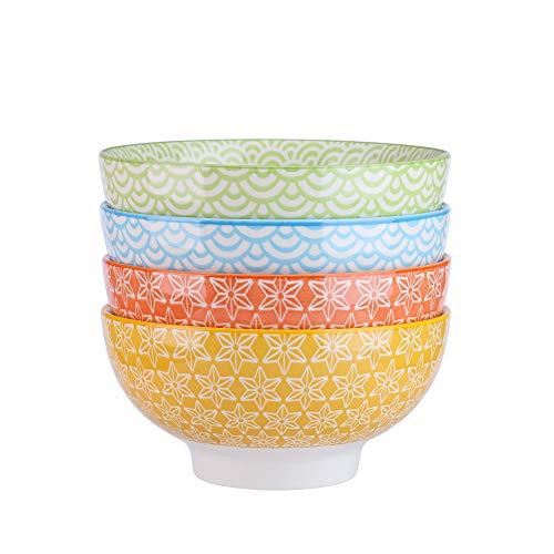Müslischale (Vancasso Natsuki 4-teilig Porzellan Schalen Set, Ø 15,2 cm Müslischalen, Mehrfarbig, Dessertschalen)